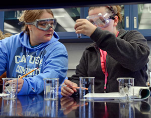 Students working in a chem lab