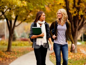 Students walking to class in the fall foliage
