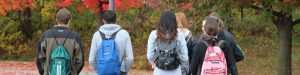 Students Walking in the Fall Foliage