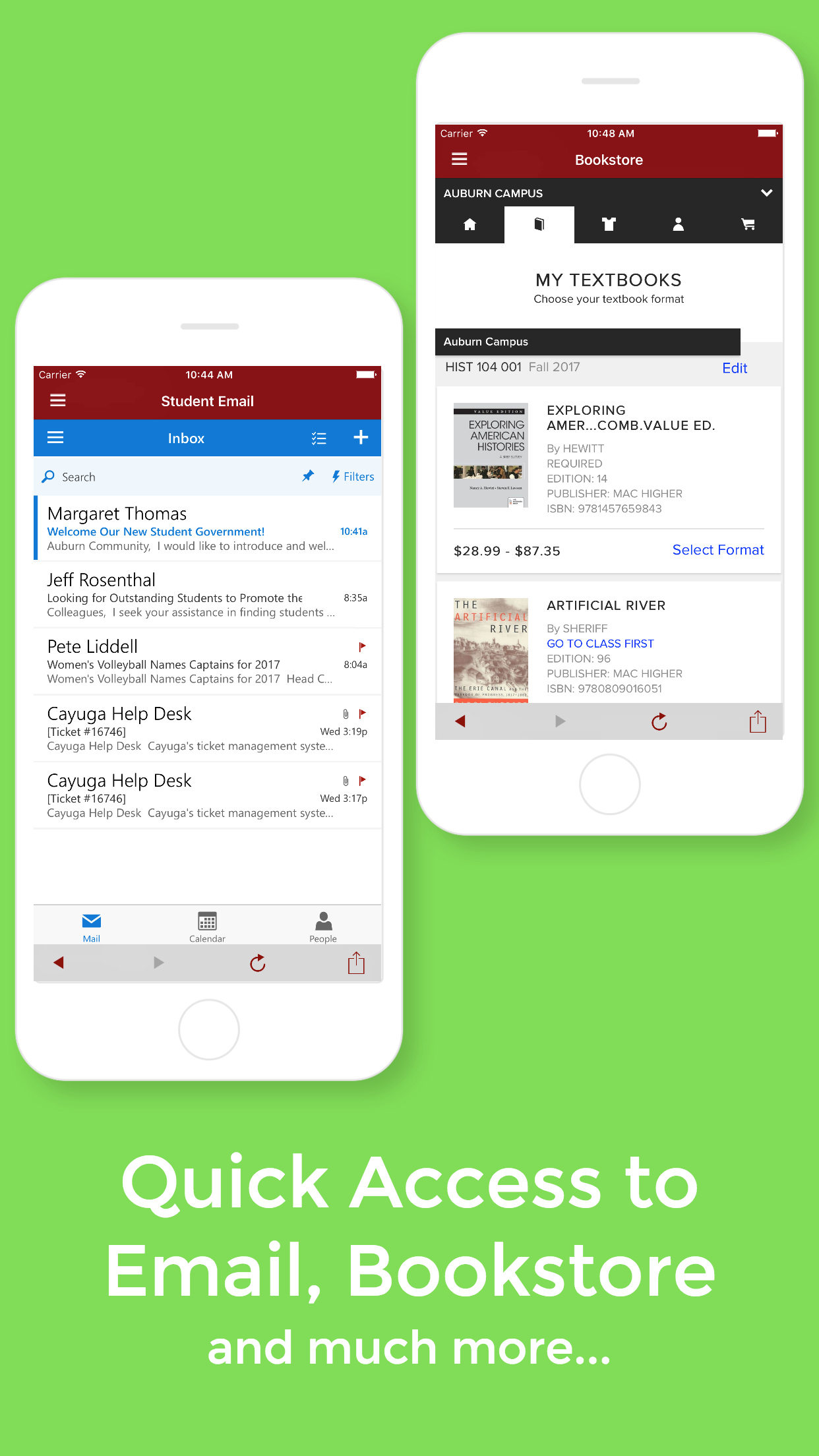 Quick access to student email, Blackboard, the bookstore, and more
