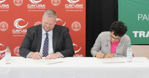 Cayuga Community College President Dr. Brian Durant and Le Moyne College President Dr. Linda LeMura signed an agreement Wednesday strengthening opportunities for Cayuga students to continue their education at Le Moyne after earning their Associate's Degree at Cayuga.