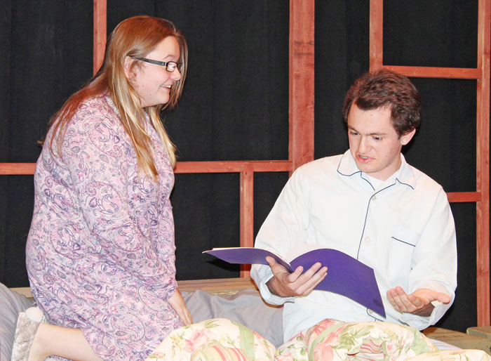 Cayuga Community College students Autumn Brewer and Thomas Norris discover a script that predicts their daily conversations, illustrating how boring their lives are, in Scripted.