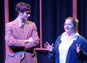 """Cayuga Community College students Theodore Brill and Autumn Brewer act in """"Foreclosure"""""""