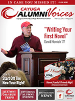 Cover image of the Cayuga Alumni Voices magazine, February 2015
