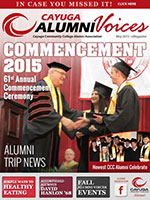 Cover image of the Cayuga Alumni Voices magazine, May 2015
