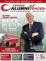 Cover image of the Cayuga Alumni Voices magazine, November 2015