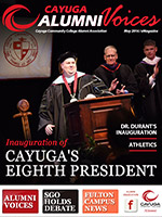 Cover image of the Cayuga Alumni Voices magazine, Spring 2016