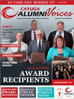 Cover image of the Cayuga Alumni Voices magazine, Summer 2016