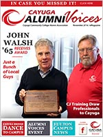 Cover image of the Cayuga Alumni Voices magazine, Issue 18, November 2016
