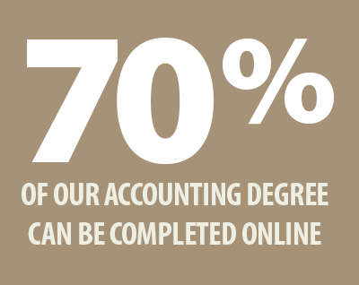 70% of our accounting degree can be completed online
