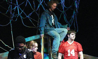 Theater students practicing a scene from a play