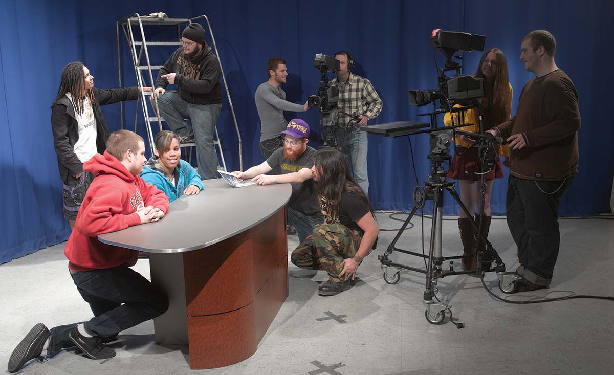School of Media and Arts students in the recording studio