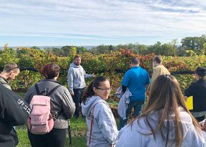 Students at the Buttonwood Grove Winery overlookng the countryside and vineyard